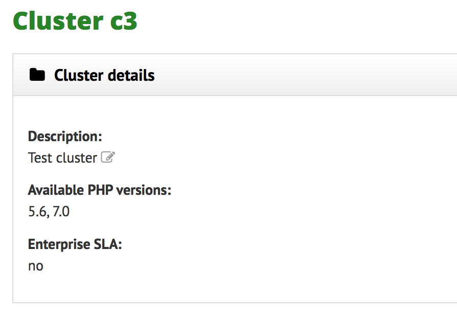 """PHP versions available on a cluster"""